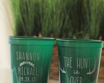 Southern Wedding Favors - The Hunt Is Over Rustic Personalized Wedding Cups, Shower Favors for Guests, Wedding Reception Party Cups