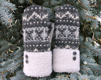 Gray & White Fair Isle Fleece Cuffed Women's Recycled Wool Sweater Mittens