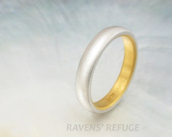platinum and 24k gold wedding band for men or women -- 4mm traditional wedding ring