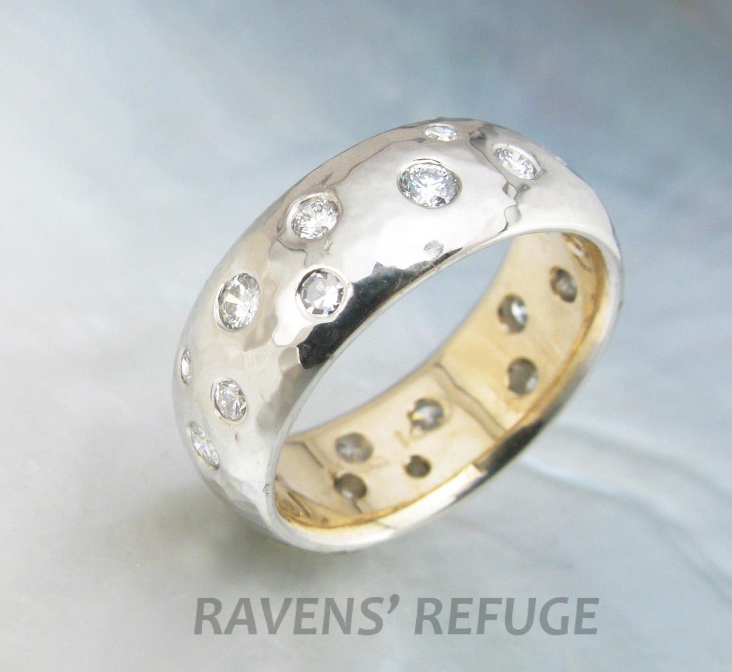 starry night engagement ring flush set diamonds in hammered