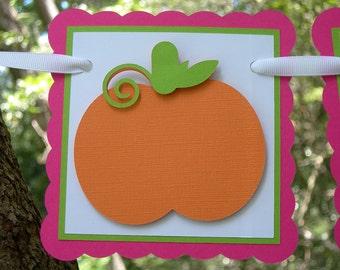 Little Pumpkin 1st Birthday Banner in Hot Pik and Orange