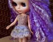 Blythe Doll Tutu Dress, Lilac & Soft Pink Blythe Dress, Pastel Blythe Doll Dress, Blythe Doll Petal Dress, Blythe Crochet Lace Dress