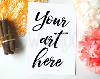Feminine Desk Print Mockup, Mum, boho style for shop owners, photography, Styled Photography Mockup, Digital Frame, Instant download