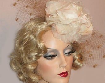 CHAMPAGNE BLUSH CHARM Kentucky Derby Fascinator, Vogue Derby Headpiece, Champagne Beige and Ivory, Rose & French Net Headpiece, High Tea Hat