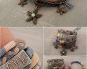 Starfish Bohemian Bracelet, Camel Teal Bracelet, Gypsy Bracelet, Gypsy Jewelry, Multiple Strands Bracelet Hippie Style, Boho Bracelets Stack