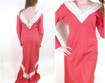 Vintage Red Maxi Dress / Floral Maxi Dress / 60s Maxi Dress / Long Hippie Dress / Lace Ruffle Dress M