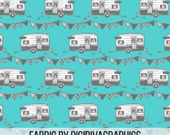 Trailer Adventure By The Yard - Turquoise and Grey Mobile Home and Cute Banner Print in Yard & Fat Quarter