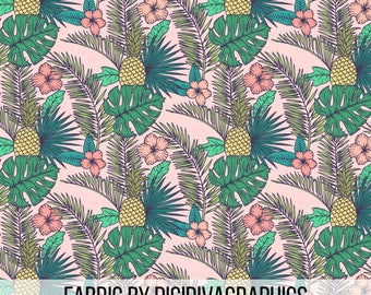 Tropical Garden Fabric by the Yard - Pink Hawaiian Pineapple Palm Leaf Fronds Summer Print in Yard & F at Quarter