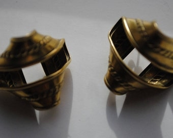Antiqued Gold Tone TWISTED MMA Earrings- Pierced Stud/Posts