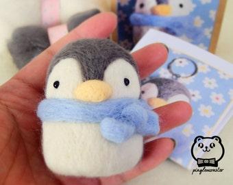 Needle felting kit -  Cute penguin with blue scarf keyring