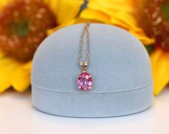 Vintage pink topaz pendant, tiny little pink pendant