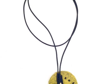 Minimalist Yellow Heather Embroidered Leather Cord Necklace
