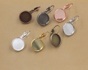 50 Brass Silver/ Gun-Metal/ White Gold/ Rose Gold Lever-Back Ear Wire W/ 10mm/ 12mm/ 14mm/ 16mm/ 18mm/ 20mm Round Bezel- Z5604