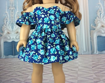 18 inch doll dress to fit american girl size doll. Pretty blue floral dress