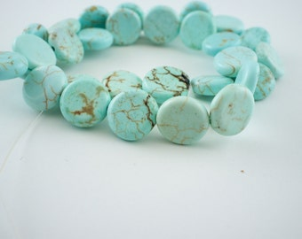 14mm Light Blue Magnesite Puff Coin Beads - 15 inch strand - 30 pieces
