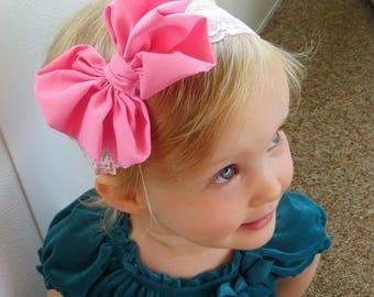 Pink Bow Headband, Big Bow Headband Baby, Pink Hair Bow, Lace Headband Baby, Pink Headband Baby, Pink Baby Headband, Messy Bow Headband