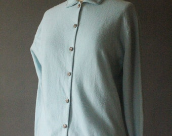 Vintage 50's Baby Blue Cashmere Button Up Cardigan Sweater by Hawick Ltd., size S