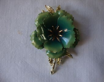 Vintage  Gradiant GREEN ENAMEL GOLD Flower Brooch Large Mid Century Green Flower With Gold Leaves And Stem Retro Jewelry Bold Brooch