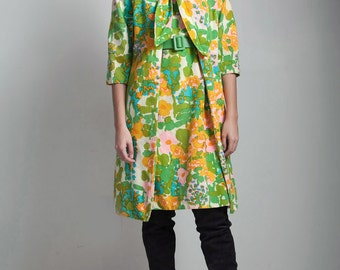 vintage 1960s floral dress coat set bow tie matching colorful green MEDIUM LARGE M L