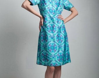 silk shift dress beaded collar 60s vintage turquoise blue floral short sleeve MEDIUM M