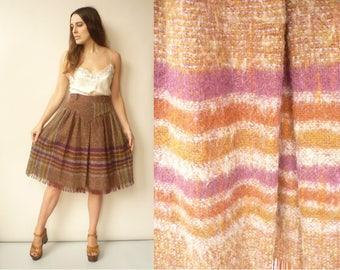 Alberta Ferretti Vintage Check Tartan Wool Midi Skirt With Fringing Size Small