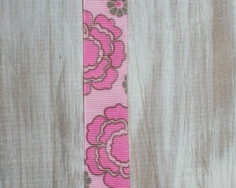 Baby girl pink flower ribbon suspender binky clip