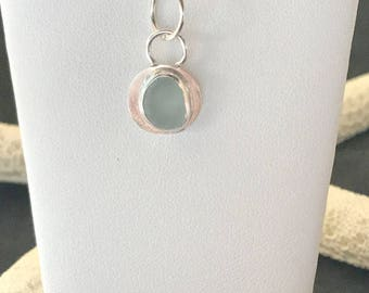 Sterling Sea Glass Necklace - Lake Erie Beach Glass Jewelry - Cleveland Beach Jewelry - Bezeled Necklace - FREE Shipping inside the US