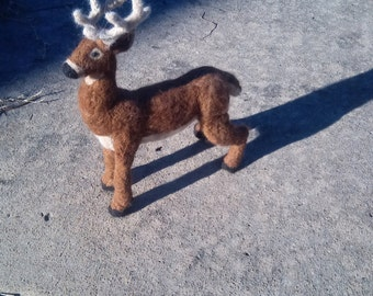 Stag Figure - needle felt deer with antlers