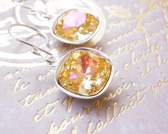 Earrings, Crystal Earrings, Silver Earrings, Dangle Earrings, Drop Earrings, Swarovski Earrings, Cushion Cut Earrings, Brandy Earrings, Gift