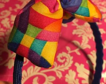 Rainbow - Pattern - Cotton - Blue Glitter - Headband - Hand Made Ink Fabric Bow - Teen - Adult
