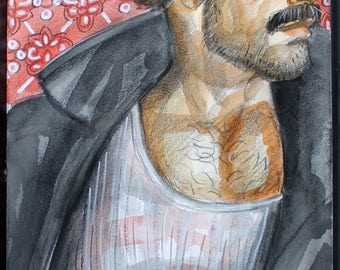 Flashing the Leather, watercolor and crayon on 11x14 inch cotton paper by Kenney Mencher