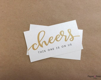 50 pack Gold Golden Drink Ticket with Script Cheers for your Wedding with Bride and Groom Names and Thank You Beverage