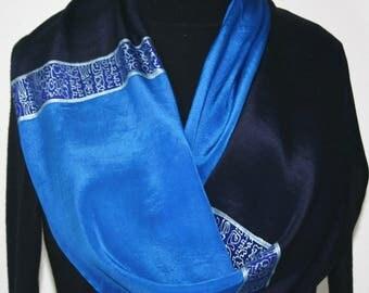 Hand Painted Silk Scarf. Light Sapphire & Navy Blue Handmade Silk Scarf, SAPPHIRE JEWEL. Size 14x72. Silk Scarves Colorado. 100% silk.