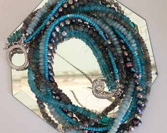 Ashira Labradorite, Turquoise, Aquamarine, Cultured Pearls with Swarovski Angel Clasp - One of a Kind 50% off