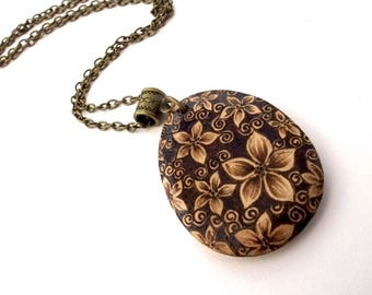 Dainty Blossoms Teardrop Wooden Pyrography Pendant, Flower Necklace, Wooden Flowers, Floral Pyrography, Flower Lover Gift, Nature Lover Gift