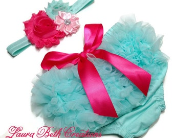 Baby Bloomer, Mint Aqua Ruffle Bloomer and Headband, Baby Photo Prop, Newborn Bloomer, Ruffle Diaper Cover, Infant Bloomer, Aqua and Pink