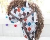 Stick Horse, Handmade Ride-On Hobby Horse Children's Toy, Cowboy Accessories, Argyle