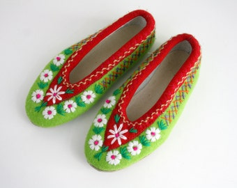 Embroidered Felted House Shoes