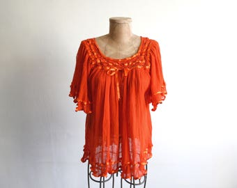 Orange Ruffle Cotton Gauze Top