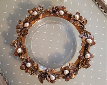 Crystal and Brass Small Vanity Dish - Trinket Dish with Pearls - Hollywood Glam - Oak Hill Vintage