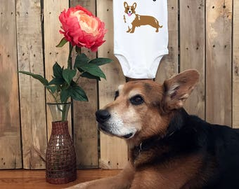 Screen printed Short Sleeve or Long Sleeve Onesie : Protected By A Corgi Onesie FREE SHIPPING
