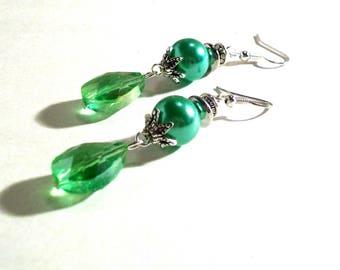 Dangle Earrings, Green Pearl, Swarovski Faceted Crystal, Large Tear Drop, Select Metal & Ear Wire Type