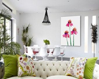 Echinacea Floral Watercolor Painting - Pink Orange Coneflowers Art Print