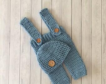 Crochet suspenders, baby suspenders, photo prop, crochet pants, newborn suspenders, crochet outfit, crochet hat, blue crochet baby pants