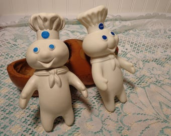 Vintage Poppin' Fresh Vinyl Figurine - Pillsbury Doughboy Squeeze Doll - Two Available -  16-805