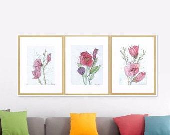 Set of 3 Spring Blooms Art Print Original Watercolor Artwork, 3 prints set  Spring Floral Watercolor Art Print, Modern Art Home decor