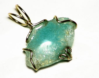 Gem Silica Chrysocolla Pendant in 14k Gold (4 carats) Rare Chrysocolla in Quartz with Orbed Pattern Arizona Gem Silica
