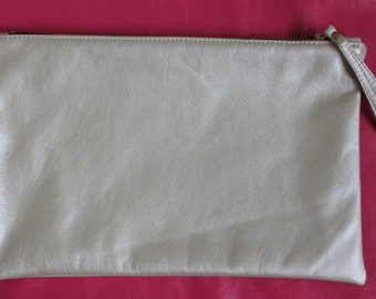 Silver leather clutch bag with strap, Leather clutch bag with lining