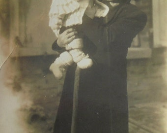 Vintage French Photo - Woman Holding a Baby