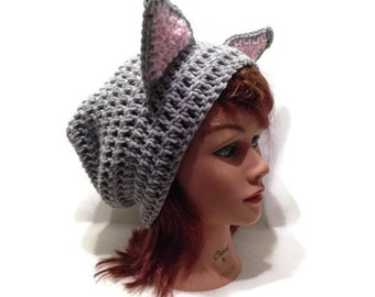 Grey Cat Hat, Slouchy Cat Beanie, Grey Kitty Ears, Hat with Cat Ears, Cat Beanie, Novelty Hat, Cat Cosplay Hat, Grey Kitty Hat, Cat Cosplay